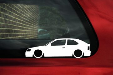 2x Low car outline stickers - Toyota Corolla AE100 3door Hatchback